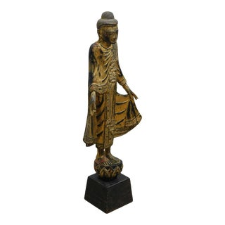 Vintage Gilt Wood Polychrome Standing Burmese Buddha Statue For Sale