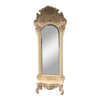Carved Wood Painted Pier Mirror For Sale