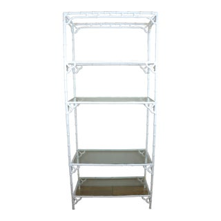 1970s White Faux Bamboo Metal Etagere Shelf For Sale