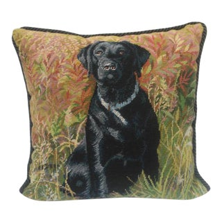 Figurative Needlepoint Black Lab Pillow For Sale