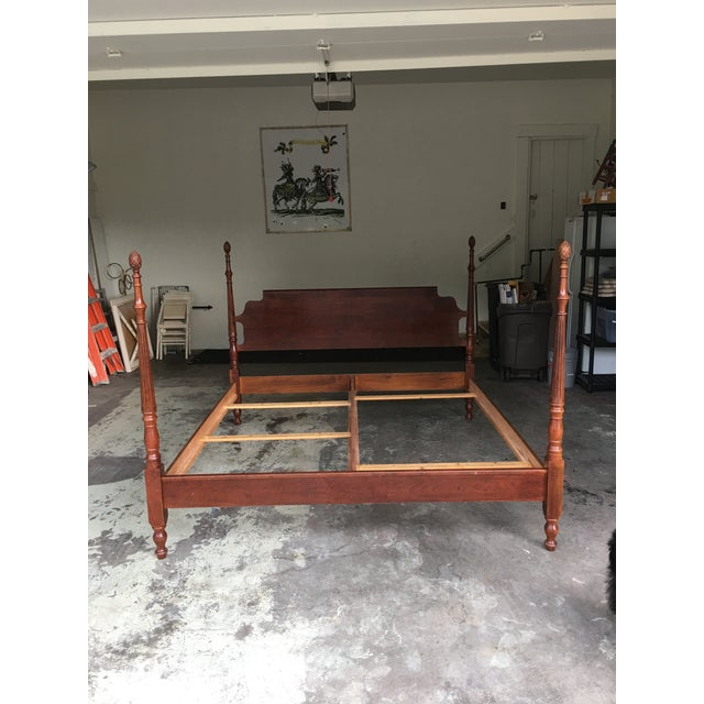 Traditional Pine Cone Four Poster King Bed For Sale In Chicago - Image 6 of 8