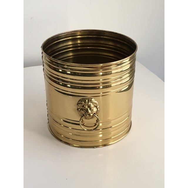 Lion Head Brass Planter, Made in England For Sale - Image 11 of 11