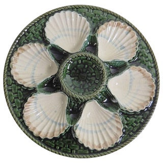 19th Majolica Oyster Plate Longchamp For Sale