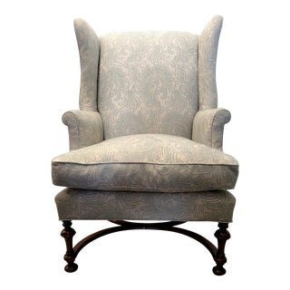 Vintage Wingback Chair with Wood Legs For Sale