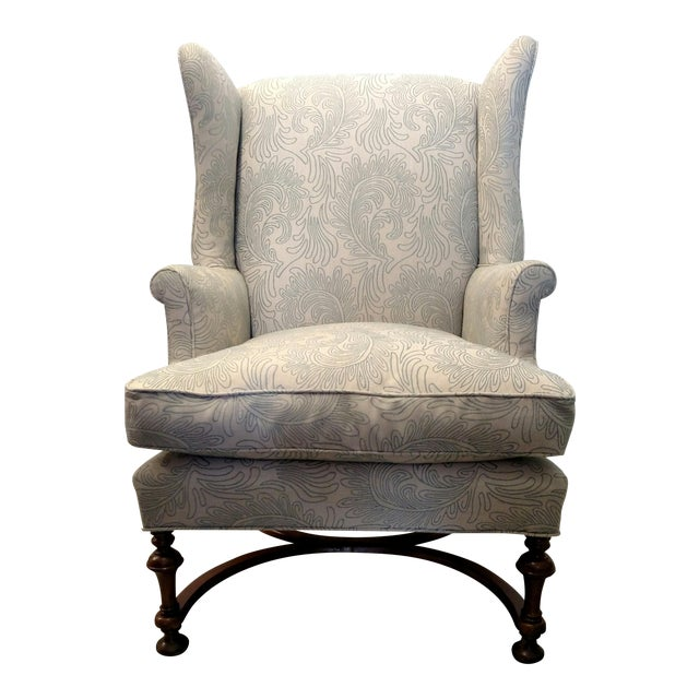 Vintage Wingback Chair with Wood Legs - Image 1 of 9