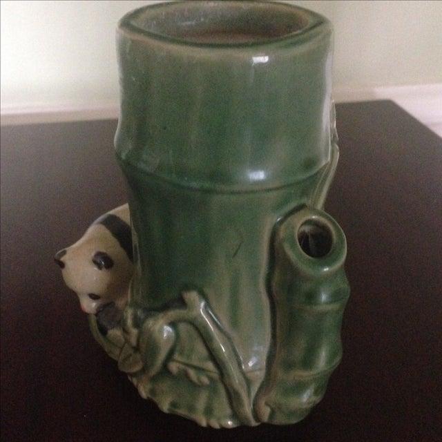 Mid-Century Faux Bamboo Ceramic Panda Vase For Sale - Image 5 of 11