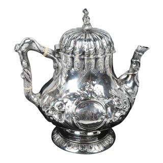 Mid 19th Century Vintage R&W Wilson Silver Coffee Pot For Sale
