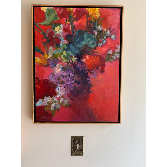 2010s Pink Bouquet Eucalyptus Painting For Sale - Image 5 of 8