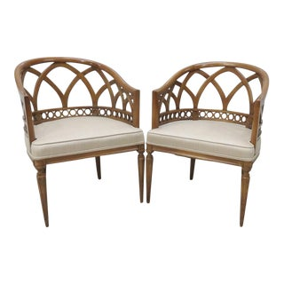 Italian Lattice Barrel Back Chairs - A Pair