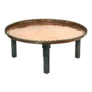 Rustic Substantial Copper Tray Coffee Table on Wood Stand For Sale