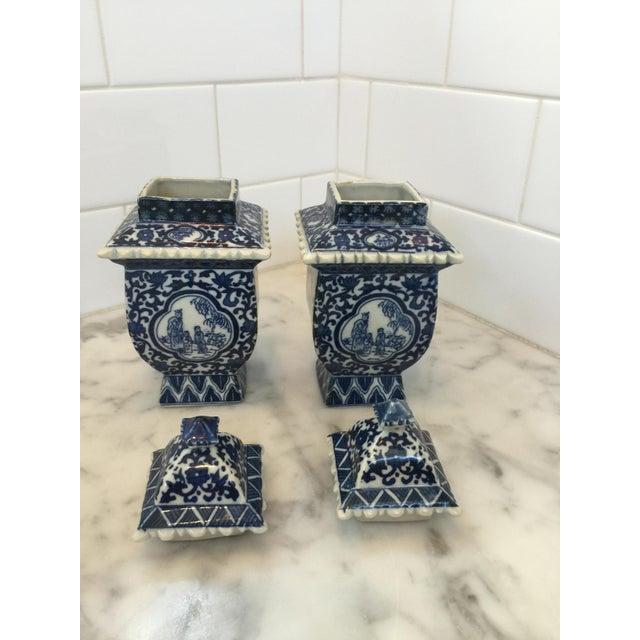 Lidded Blue and White Ginger Jars - a Pair - Image 3 of 4