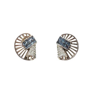 Circa 1950 Boucher Invisibly Set Faux-Sapphire Rhinestone Earrings For Sale