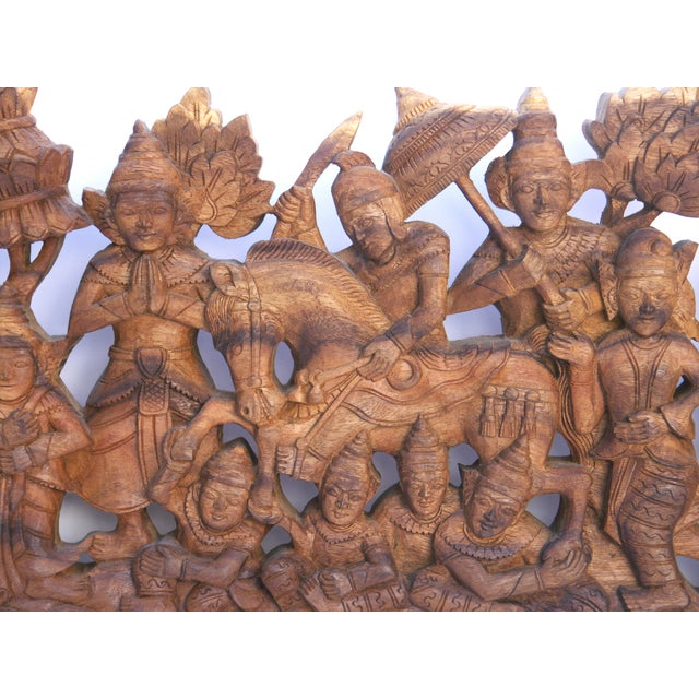 Asian Hand-Carved Wood Buddha Relief For Sale - Image 3 of 3