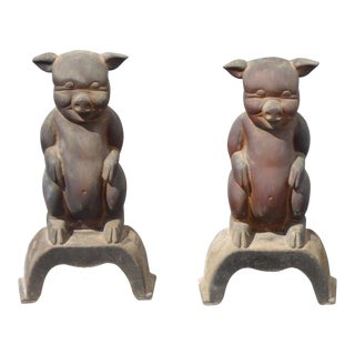 Vintage Bronze Pig Fireplace Andirons - a Pair For Sale