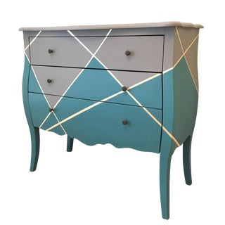 Modern Gray & Teal with Gold Leaf Accent Commode For Sale