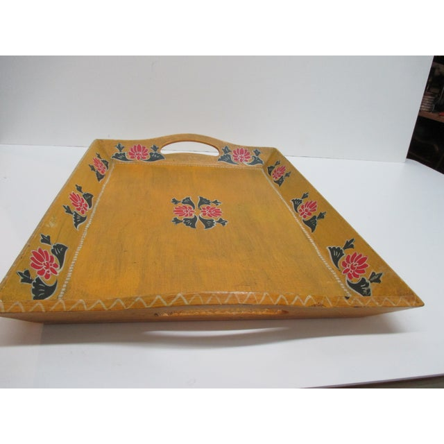 Late 20th Century Vintage Floral Wood Hand Painted Serving Tray With Handles For Sale - Image 5 of 6