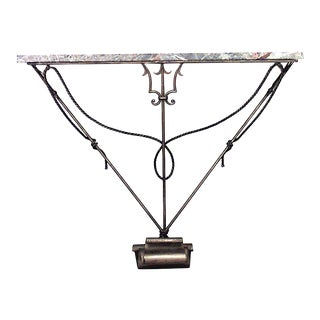 Italian Gilt Iron and Marble Top Console Table For Sale