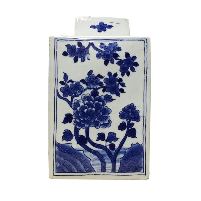 Chinese Blue & White Porcelain Flowers Jar For Sale