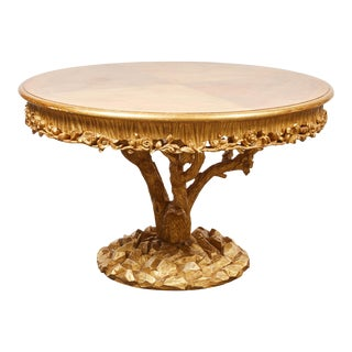 Tree Trunk Table with Gold Leaf by Erika Brunson For Sale