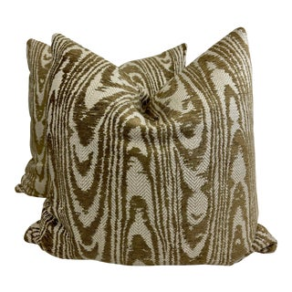 """Faux Bois in Brown Woven 22"""" Pillows-A Pair For Sale"""