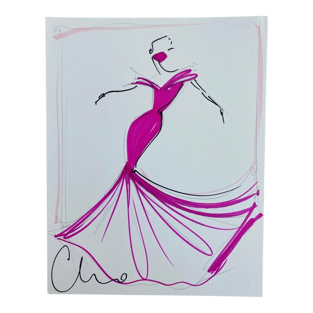 """""""Fuchsia Off-The-Shoulder Evening Gown"""" Original Christian Siriano Sketch For Sale"""