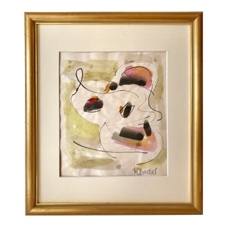 Vintage Mid Century Abstract Watercolor Painting by Harold C. Davies For Sale
