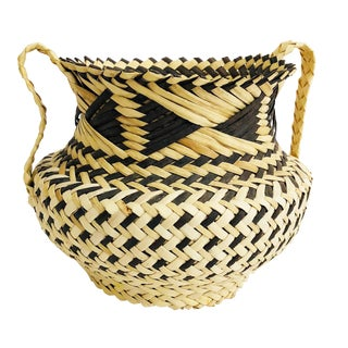 Vintage Large Two Tone Woven Basket Vase For Sale