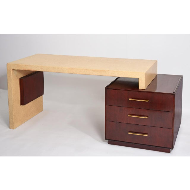 Johnson Furniture Co. Rare Paul Frankl for Johnson Furniture Cork & Mahogany Desk, 1950s For Sale - Image 4 of 7