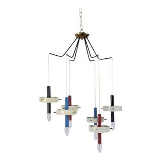 Mid-Century Modern Italian Six Lights Chandelier For Sale