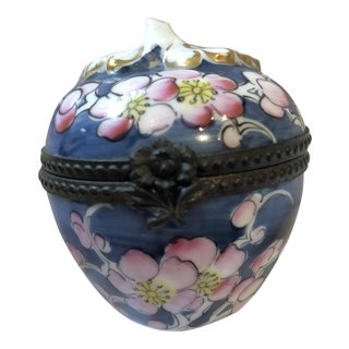Vintage Blue Limoges Floral Trinket Box