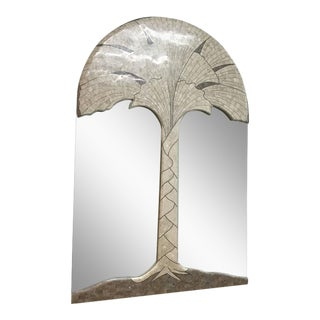 Tessellated Fossil Stone and Marble with Brass Inlay Mirror by Maitland Smith For Sale