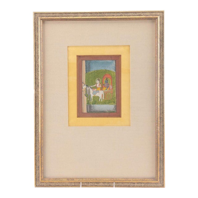 Krishna in Chariot Miniature Indian Painting For Sale