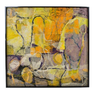 Mid Century Colorful Collage Abstract Painting by Edith Ferullo For Sale