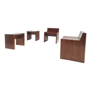 Unique Set of Solid Mahogany Church Seats by Dutch Architect Harry Nefkens, 1963