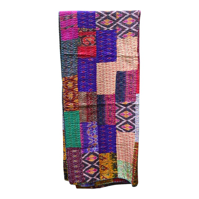Handmade Woven Silk Sari Pieces Kantha Quilt - Image 1 of 8