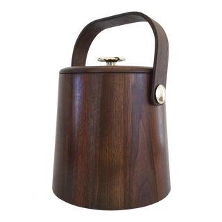 Vintage Mid Century Modern American Walnut Ice Bucket For Sale