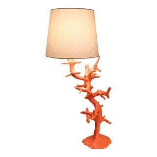 French Artisan Made Coral Lamp For Sale