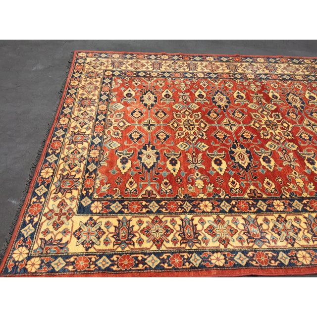 "Kazak Knotted Wool Rug -- 7'6"" x 11'3"" For Sale - Image 4 of 10"