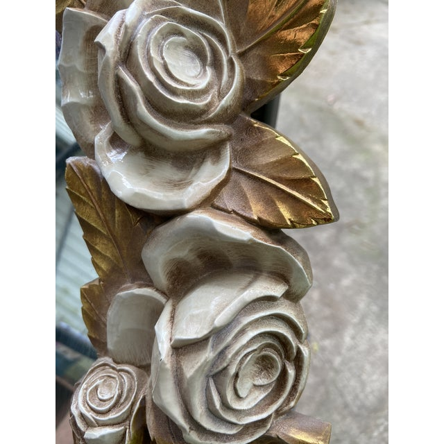 Vintage French Italian rose mirror. Done in gold and white. In a 3 d embossed design Syroco. Composition to look like...