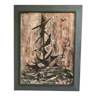 1960s Vintage Abstract Nautical Seascape Painting For Sale