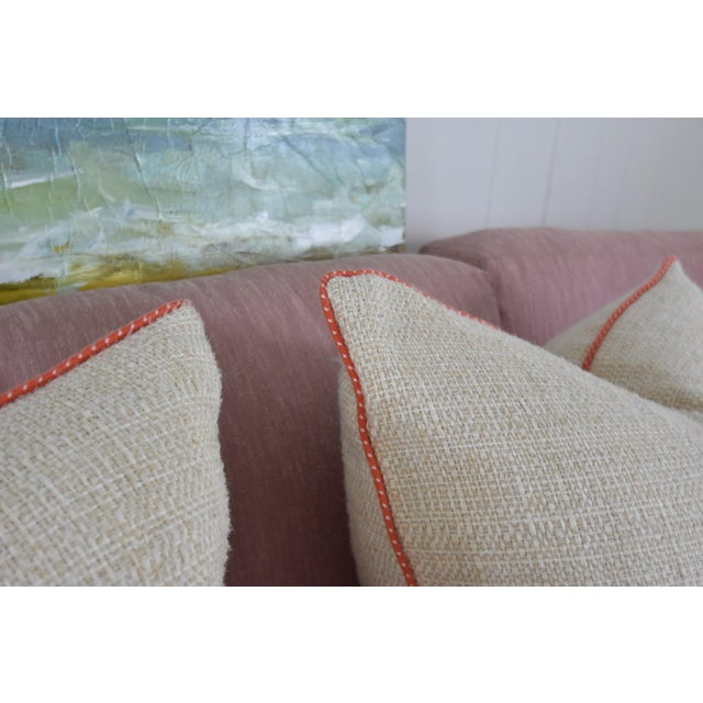 Neutral & Coral Cord Pillow Covers - a Pair - Image 4 of 7
