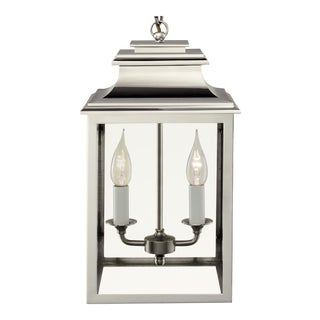 2 Candle Polished Nickel Lantern For Sale