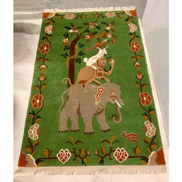 Textile Elephant & Monkey Hand Knotted Wool Rug For Sale - Image 7 of 7