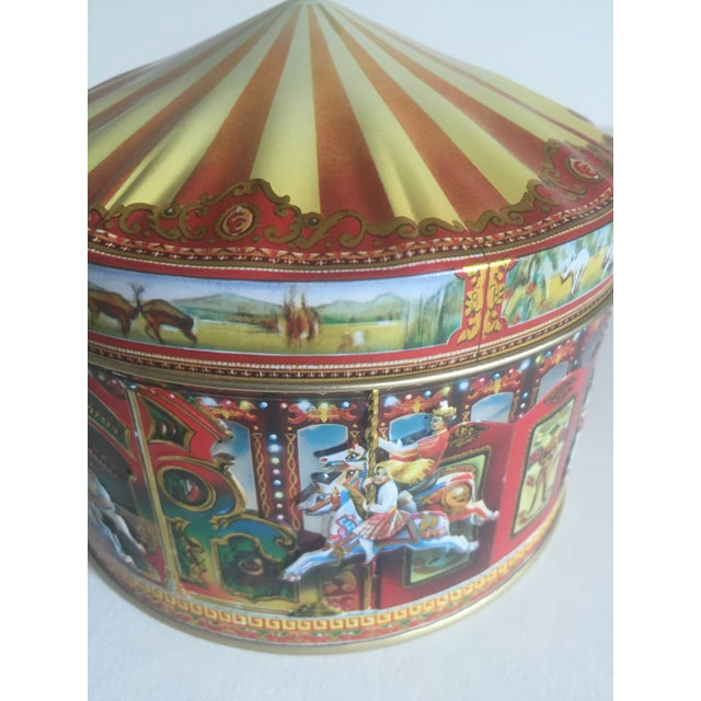 Red Vintage Churchill's Of London Carousel Candy Tin Box For Sale - Image 8 of 10