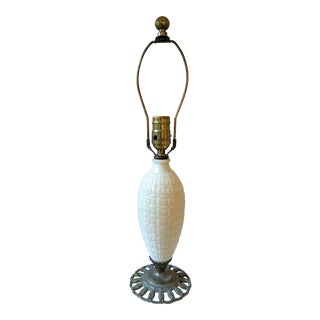 Antique Milk Glass on Bronze Base Table Lamp For Sale