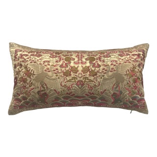 Hollywood Regency Pink & Gold Silk Embroidered Chinoiserie Boudoir Lumbar Pillow For Sale
