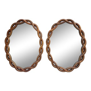 Hollywood Regency Style Large Oval Mirrors- a Pair For Sale