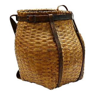 Maine Indigenous Gathering Basket, C. 1900 For Sale