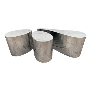 1980s Modern Organic Shape Chrome Tables - Set of 3 For Sale