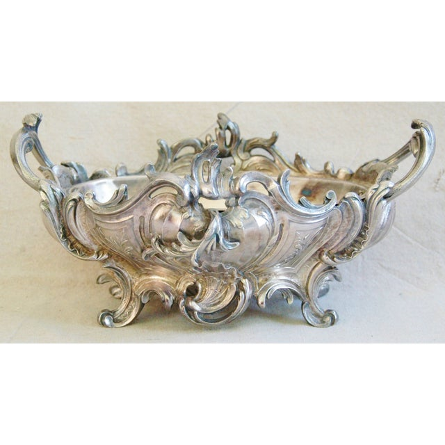 1950s Ornate French Silverplate Jardinière Planter - Image 7 of 11